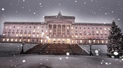 Snow falls on the Stormont Estate in east Belfast.