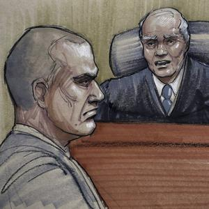 A courtroom sketch of David Coleman Headley being sentenced by US district judge Harry Leinenweber in Chicago (AP)