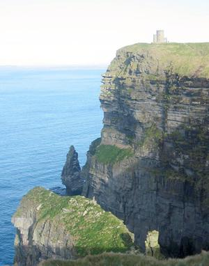 The iconic O'Brien's Tower, the highest point looking out over the Cliffs of Moher
