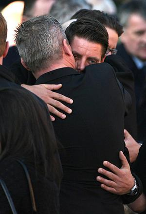 Keith Duffy (right) at the funeral of Stephen Gately