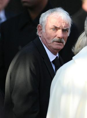 Martin Gately at St Laurence O'Toole Church in Dublin during the funeral of his son Stephen