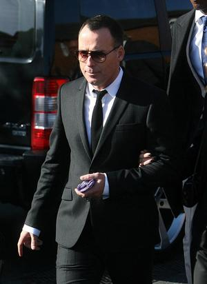 David Furnish at the funeral of Stephen Gately