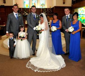 The wedding recently took place of Mairead Donnelly, daughter of Kevin and Kathleen Donnelly, Ballygittle, Stewartstown and Gary McNally, son of Maurice and Collette McNally, Balbriggan, Dublin at St Mary's Church, Stewartstown. Bridesmaids were Claire O'Hanlon and Niamh Forbes, Best Men were Paul McAleer and Mark McNally, Flower Girl was Eimear O'Hanlon and Page Boy was Caolan O'Neill. The reception was held in the Crowne Plaza Hotel, Dundalk and the couple honeymooned in Las Vegas and Hawaii. Photography Michael Cullen