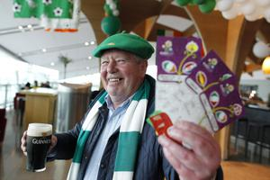 Republic of Ireland fan Bernard Kelly from Dublin with tickets for all three of the Republic of Ireland's group stage games enjoys a last pint at Dublin Airport before flying out to join the tens of thousands of Irish fans travelling to Euro 2012