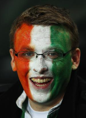 AUCKLAND, NEW ZEALAND - SEPTEMBER 17: An Ireland fan smiles ahead of the IRB 2011 Rugby World Cup Pool C match between Australia and Ireland at Eden Park on September 17, 2011 in Auckland, New Zealand.  (Photo by Cameron Spencer/Getty Images)