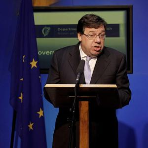 Brian Cowen after the country formally appealed for a massive EU-IMF loan (AP)
