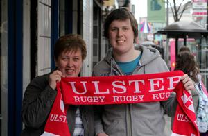Ulster rugby fans Loraine and Sam Bell pictured in Belfast as they prepare to make the trip to watch Ulster clash with Edinburgh