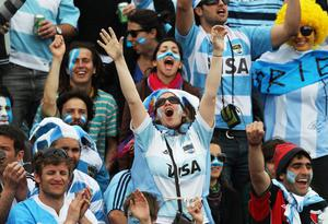 PALMERSTON NORTH, NEW ZEALAND - OCTOBER 02:  Argentina fans celebrate victory after the IRB 2011 Rugby World Cup Pool B match between Argentina and Georgia at Arena Manawatu on October 2, 2011 in Palmerston North, New Zealand.  (Photo by Hagen Hopkins/Getty Images)