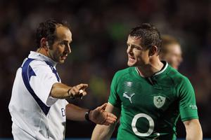 HAMILTON, NEW ZEALAND - JUNE 23: Brian O'Driscoll of Ireland complains to the referee following the yellow card of Rob Kearney during the International Test Match between New Zealand and Ireland at Waikato Stadium on June 23, 2012 in Hamilton, New Zealand.  (Photo by Hannah Johnston/Getty Images)