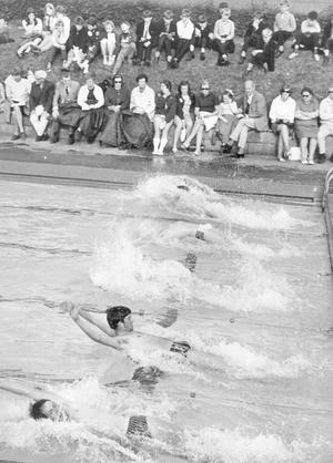 The scene at Pirrie Park, Belfast last night during the back-stroke (under 17boys) race at Methodist College annual swimming gala, 1969.
