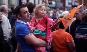 12.07.11. PICTURE BY DAVID FITZGERALD12th of July Celebrations in Belfast City Centre yesterday. Members of various Orange Orders marched through the City Centre yesterday for the 12th of July.