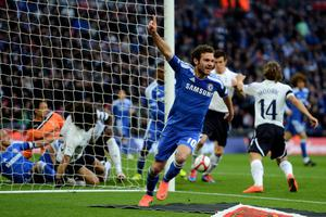 LONDON, ENGLAND - APRIL 15:  Juan Mata of Chelsea celebrates as he scores their second during the FA Cup with Budweiser Semi Final match between Tottenham Hotspur and Chelsea at Wembley Stadium on April 15, 2012 in London, England.  (Photo by Mike Hewitt/Getty Images)