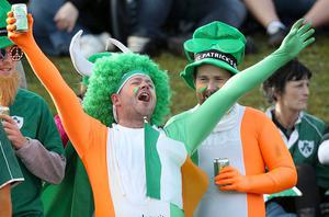 Ireland fans show there support in the stands during the IRB Rugby World Cup match at the Rotorua International Stadium, Rotorua, New Zealand.