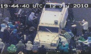 PSNI footage of rioters attacking police in Ardoyne, North Belfast on the 12th of July