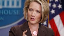 White House Press Secretary Dana Perino responds to a reporters question, Thursday, Oct. 23, 2008, during her daily briefing at the White House in Washington.  (AP Photo/Ron Edmonds)