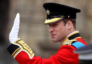 Prince William arrives at the entrance to Westminster Abbey ahead of his wedding to Kate Middleton. PRESS ASSOCIATION Photo. Picture date: Friday April 29 2011. Photo credit should read: Lewis Whyld/PA Wire