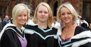 Graduations at Queen's University Belfast.  Left to right.  Stacey Doran from Lurgan, Karen Lester from Armagh and Sinead Armstrong from Belfast who all graduated with a BA Hons in Sociology and Social Polices.