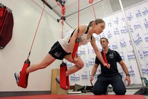 Sports Institute Northern Ireland physiotherapist David Minion puts Lisa Kearney through her paces
