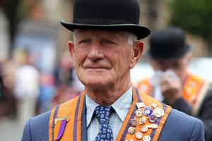 12/7/11 Mandatory Credit Darren Kidd/Presseye.com Orangemen take part in Twelfth of July parades as they make their way to the field at Shaws Bridge, Belfast.The parade makes its way along Bedford Street, LOL1922