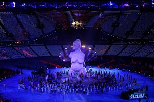LONDON, ENGLAND - AUGUST 29:  A large scale reproduction of Marc Quinn's celebrated sculpture ÂAlison Lapper Pregnantemerges during the Opening Ceremony of the London 2012 Paralympics at the Olympic Stadium on August 29, 2012 in London, England.  (Photo by Mike Ehrmann/Getty Images)