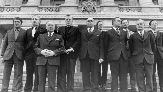 Government of Northern Ireland.  United Ulster Unionist Coalition.  (March 1974)  Ulster loyalist MPs met at Stormont to agree their policy.  From left are Mr. Carson, Mr. Kilfedder, Mr. Dunlop, the Rev. Ian Paisley, Mr. west, the Rev. Robert Bradford, Mr. Craig, Mr. Ross, Mr. Molyneaux, Mr. McCusker.  Capt. Orr was in London.