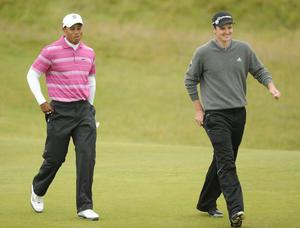 Tiger Woods and Justin Rose at The Open. July 2010