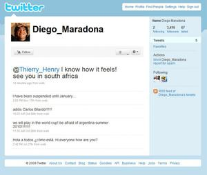 Maradona's message of support to Henry