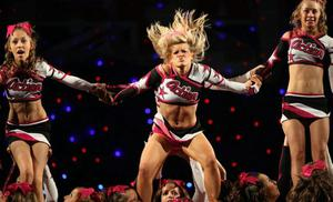 COVENTRY, ENGLAND - JULY 17:  Girls from the RSD Action dance group perform at the BCA International Cheerleading and Dance Competition at the Ricoh Arena on July 17, 2010 in Coventry, England. The annual competition is the largest of its kind in Europe with over 1800 cheerleaders from 47 teams from across the UK and Europe performing for the coveted title.  (Photo by Dan Kitwood/Getty Images)