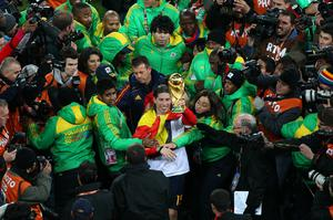 Sergio Ramos of Spain celebrates winning the World Cup during the 2010 FIFA World Cup South Africa Final match between Netherlands and Spain at Soccer City Stadium on July 11, 2010 in Johannesburg, South Africa