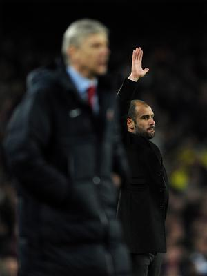 BARCELONA, SPAIN - MARCH 08:  Head coach Josep Guardiola (R) of Barcelona reacts besides head coach Arsene Wenger of Arsenal during the UEFA Champions League round of 16 second leg match between Barcelona and Arsenal on March 8, 2011 in Barcelona, Spain.  (Photo by Jasper Juinen/Getty Images)