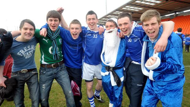 Christmas has come early for these St Colman's fans who were celebrating after their team's victory in the MacRory Cup Final