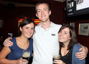 At Lavery's Bar in Belfast are Annmarie McPolin, Warren Keys and Bethan Hughes