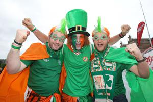 Republic of Ireland fans in Gdansk, Poland before the UEFA Euro 2012, Group C match against Spain