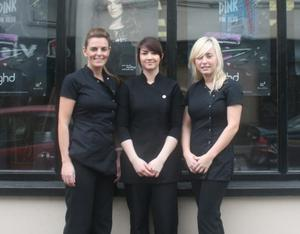 Jenny Waddell (centre) apprentice of Cut Both Ways in Rathfriland, with salon owner Shauna Donnan (left) and Anya Fairley