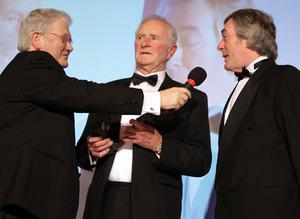 Jackie Fullerton interviews Harry Gregg and Pat Jennings at the Belfast Telegraph Sports Awards sponsored by Magners in the Ramada, Belfast