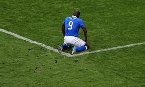 GDANSK, POLAND - JUNE 10: Mario Balotelli of Italy reacts during the UEFA EURO 2012 group C match between Spain and Italy at The Municipal Stadium on June 10, 2012 in Gdansk, Poland.  (Photo by Alex Grimm/Getty Images)
