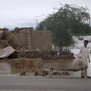 Villagers gather beside their collapsed house caused by monsoon rains in Pakistan (AP)