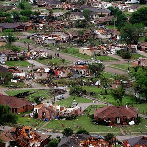 An aerial view shows the devastation in Lancaster, Texas (The Fort Worth Star-Telegram)