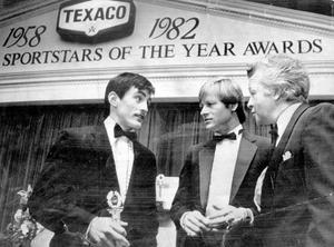 Alex Higgins.  Snooker Legend.  Four Ulster sportsmen were given Texaco Sportstars of the Year Awards (1982) at a banquet in Dublin last - John Watson, Barry McGuigan, Gerry Armstrong and Alex Higgins.  Photographed at the ceremony were McGuigan, Northern Ireland team manager Billy Bingham, who collected the trophy on behalf of Armstrong and Higgins.