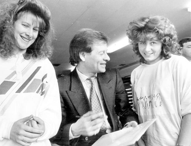 Alex Higgins.  Snooker Legend.  Snooker star Alex Higgins signs autographs for twins Brenda (left) and Geraldine Brammled at the press conference to announce the details of the Irish Professional Snooker Championship, which will be held in the Antrim Forum from February 9-12.  (1988)