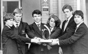 """British Steel could do worse than employ the six teenagers from Ballymena Academy who amassed a staggering £11m. profit to win the Ulster Bank annual school's management game. Last year the Academy finished in third place in the Northern Ireland finals but this year the sixth formers out-managed 64 teams throughout the province to win £120 for the school and a place in the All-Ireland final. Mr. David Kilpatrick, teacher in charge of the project, praised the team's success. """"It's a reward for the hard work they put in right through the competition,"""" he said. David Tedford (left), David Long, Stephen Kirk, Micheale O'Connell, Mathew Brown and Stephen Boyd. The competition was held in the Stormont Hotel, Belfast."""