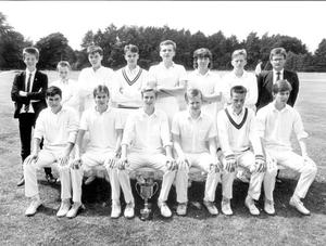 Ballymena Academy team which won the Northern Bank Schools Cricket final at Muckamore. Front row (from left), Richard Bill, Stephen McBurney, John Glass (captain), Stephen Surgeoner, Paul Rainey and Jonathan Kennedy. Back row (from left), David Kennedy, Carl Williams, Mark Hamilton, David Berkley, Michael Glass, Mark McGladdery, Mark Dunlop and Clive Jackson, teacher in charge.