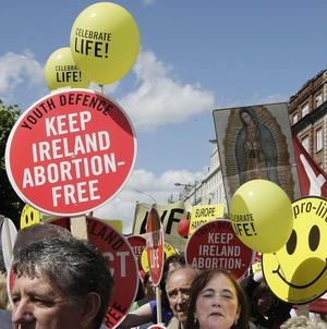 Pro-life protesters during a demonstration in the centre of Dublin