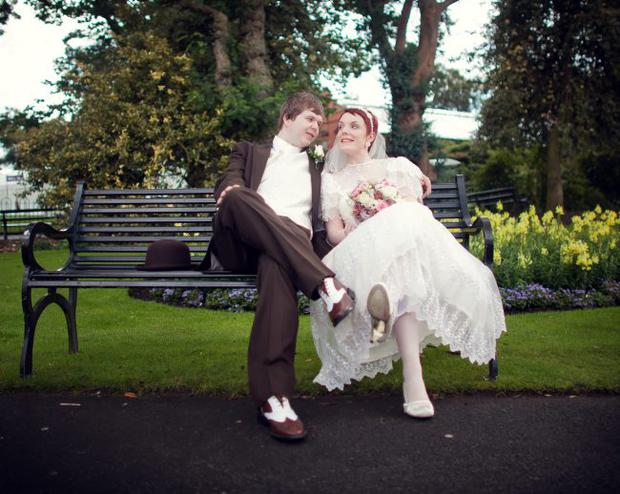 Brian McCart and Emily McCauley, married at Ulster Muesum with photos in Botantic Gardens