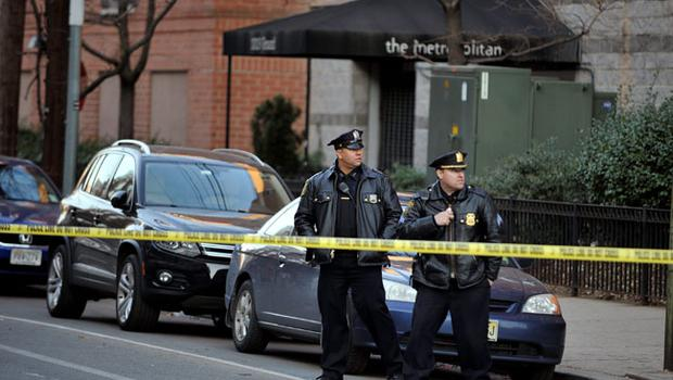 HOBOKEN, NJ - DECEMBER 14:  Hoboken Police officers stand in front of  a scene at 1313 Grand St., which is believed to be connected with an elementary school shooting on December 14, 2012 in Hoboken, New Jersey. According to reports, there are 27 dead, including 20 children, after a gunman identified as Adam Lanza, opened fire in at the Sandy Hook Elementary School in Newtown, Connecticut. The shooter, identified as Adam Lanza was also found dead at the scene.  (Photo by Michael Bocchieri/Getty Images)