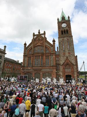 Crowds gather to hear the findings of the long-awaited Saville Inquiry report into Bloody Sunday, outside the Guildhall