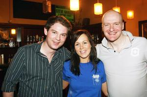 Mark Lammey from Belfast, Edel McCarroll from Lurgan and and Lee Bowyer from Charleton at the Harp Ice Cold Big Gig in the Spring and Airbrake on 26th February