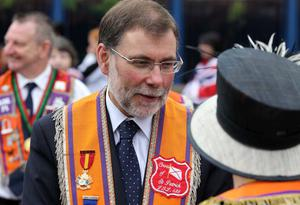 Orangemen take part in Twelfth of July parades as they make their way to the field at Shaws Bridge, Belfast. Nelson McCausland MLA
