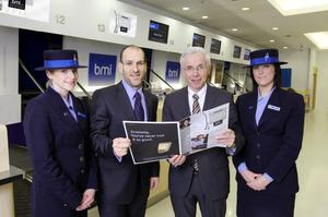 British Midland International (bmi) chief executive Wolfgang Prock-Schauer (second right) flew into Belfast to launch the Belfast Telegraph Business Awards. He was joined by the Belfast Telegraph's commercial director Simon Mann and bmi customer services representatives Janice Beattie (left) and Nicola Wright