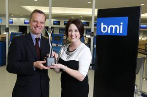 Belfast Telegraph editor Mike Gilson and Brenda Morgan, bmi's Ireland sales manager, launch the 2011 Belfast Telegraph Business Awards. The winners will be unveiled at a gala ceremony on Thursday, April 7 2011.